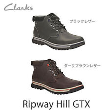 Clarks Men ** Ripway Hill Gtx **  WATERPROOF ** BLACK LEATHER  ** UK 11