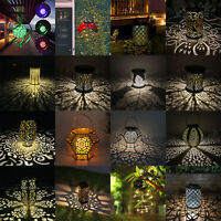 Solar LED Powered Hanging Ground Light Garden Candle Lantern Lawn Landscape Lamp