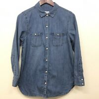 J. JILL Denim Chambray Top Shirt Snaps Casual Long Sleeve Size Small Petite