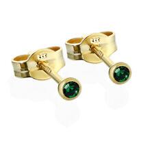 Paar Ohrstecker Gold 333er 2,50mm dunkelgrün Zirkonia Damen Herren 6698