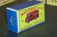 "Matchbox Lesney No 69 Commer ""NESTLE'S"" Van Empty Repro Box style D"