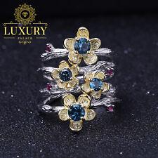 Natural London Blue Topaz 925 Sterling Silver Handmade Plum Blossom Flower Rings