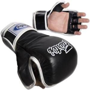FAIRTEX FGV15 BLACK DOUBLE WRIST CLOSURE MARTIAL ARTS MMA BOXING SPARRING GLOVES