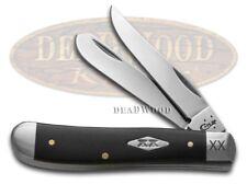 CASE XX Engraved Bolster Black Delrin Mini Trapper 1/500 Stainless Pocket Knife