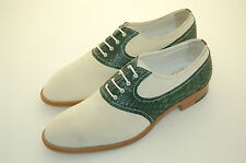 WOMAN - DONNA - 37 - OXFORD - WHITE SUEDE + GREEN PYTHON - LTH SOLE -F.DO CUOIO