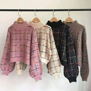 New Plaid Sweater Women Korean Short Loose Casual Checkered Sweater Pullovers