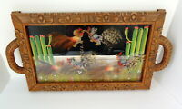 Vintage Fighting Rooster Cocks Serving Tray Feathers Wood Framed Birds Wall Art