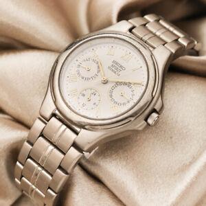 SEIKO Spirit Titanium 5Y89-0A60 White Dial JDM Women's Quartz Watch