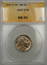 1937-D Buffalo Nickel 5C Coin ANACS MS-65 (10)