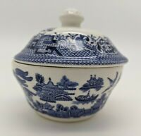 Blue Willow China Sugar Bowl w/Lid Staffordshire Made in England  VGC