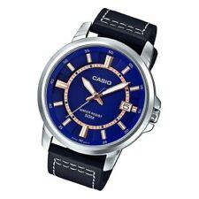 Casio MTP-E130L-2A1 Analogico Cuero Reloj de Hombre Correa Esfera Azul Wr 50M