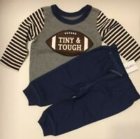 NWT Carters Toddler Boys Tiny & Tough Jogger Pants Set Football Size 3 Months 3M