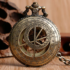Vintage Prague Constellation Compass Mechanical Hand-winding Copper Pocket Watch