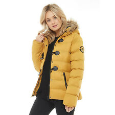 LADIES PUFFER JACKET WOMENS PADDED PUFFA FUR HOODED QUILTED BUBBLE PARKA COAT