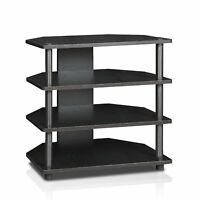 Turn-N-Tube Easy Assembly 4-Tier Petite TV Stand, Black-wood