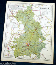 CAMBRIDGESHIRE - Large Original Antique County Map  - LETTS - 1884 .