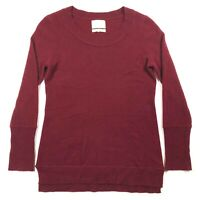 Cynthia Rowley Womens S 100% 2-Ply Cashmere Pullover Sweater Red Burgundy L/S