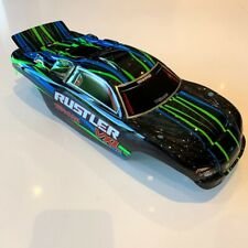 Traxxas Rustler VXL- Body Shell Black Green - With Decals - New Genuine Part