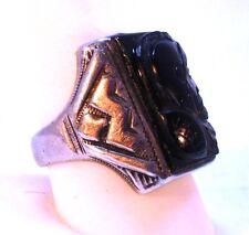 Vintage Men's Sterling Silver & 10K Gold Cameo Ring
