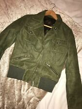 Vintage Green Faux Cracked Leather Crop Bomber Jacket Size 8/10