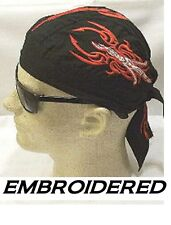SERPENT Flame Tribal Dragon EMBROIDERED FITTED BANDANA Doo Do Rag Skull Cap