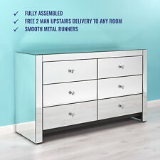 Mirrored Chest of 6 Drawers - Free 2 Man Upstairs Delivery -  Fully Assembled