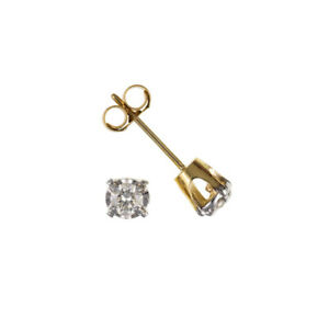 NEW Men's 9ct Yellow Gold Real Diamond Single Stud Earring with Claw Set UK
