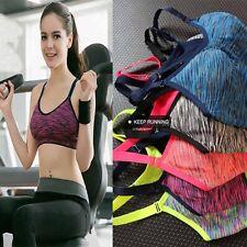 Women Yoga Fitness Stretch  Tank Top Seamless Racerback Padded Sports Bra