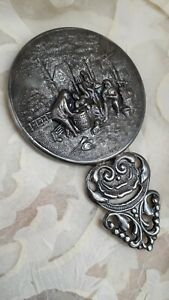 Outstanding Vintage handmade repousse hand mirror by Hans Jensen.Made in Denmark