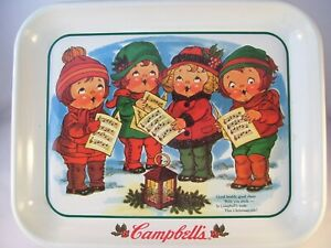 """Campbell Kids Campbell Soup Metal Tray """"Carolers"""" USA 1997 White Christmas"""