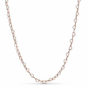 Genuine PANDORA Rose Gold JOINED HEARTS Necklace 60cm 387961 ALE R