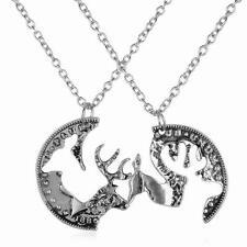 Best Friends Couples  Necklace Set Doe & Buck Deer Coin Pendants Friendship
