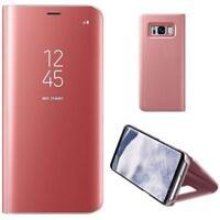Housse Etui, coque à clapet miroir translucide  rose pour Samsung Galaxy S6 Edge
