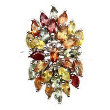 Ring Saphir gelb orange rot grün 925 Silber 585 Weißgold Gr. 58
