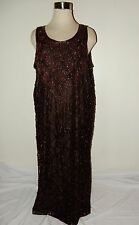 Vintage Brown Beaded Lace Evening gown Size 4X