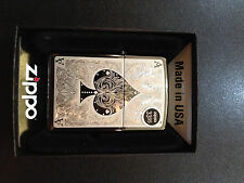 Chrome Engraved Ace of Spades Card Zippo Lighter