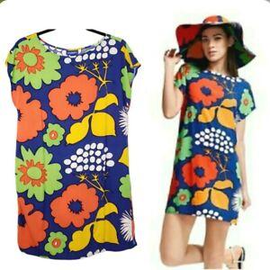 Marimekko X Target Kukkatori Printed Tunic Shift Dress S Bold Floral Geometric