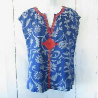 Lucky Brand Irving & Fine Top Blue Floral Embroidered Popover Boho Peasant