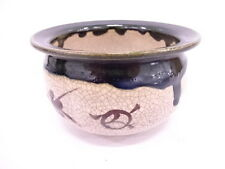 Antique Japanese TEA CEREMONY /VINTAGE ORIBE KENSUI (SLOP BASIN) / CRACKLE GLAZE