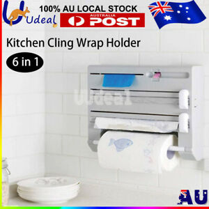 6IN1 Kitchen Racks Holders Cling Wrap Foil Dispenser Paper Roller Bottle Storage
