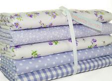 Fat Quarter Fabric Bundle Lilac Floral Spot Gingham Polycotton Material Remnant