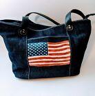 mondani new york handbags Blue Denim painted American Flag Tote Purse patriotic