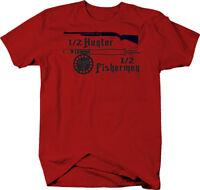 1/2 Hunter Fisherman Gun & Rod  Color T-Shirt