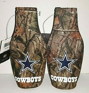 Dallas Cowboys NFL Camouflage  Zip - Up Bottle Koozie ( set of two )