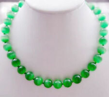 "Fashion 10mm Natural Green Cat's Eye Stone Round Gemstone Bead Necklace 18"" AAA+"