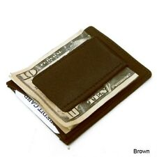 Brown Stron Magnetic Money Clip Genuine Leather Bill Fold Card Holder