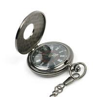 Retro Vintage Antique Steampunk Quartz Necklace Pendant Pocket Watch Black New