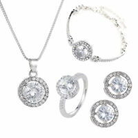 Elegant Bridal Jewelry Set Cubic Zirconia Necklace Bracelet Ring Earrings Conve