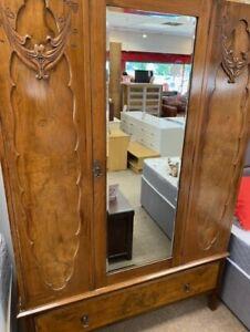 Art Deco / Art Nouveau Style Solid Wood 2 Door Mirror Panel Wardrobe - CIS S81