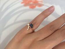 Rare Georg Jensen Modernist 18k Yellow Gold Diamond and Sapphire Ring